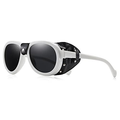 Rcxkoom Glacier Polarized Steampunk Sunglasses with Leather Side Shields Mens Womens Gothic Retro Vintage Glasses Eyewear