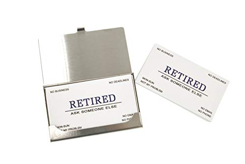 RXBC2011 Retirement card Retired Business Cards Funny Retirement Gift (Pack of 50/With Stainless Steel Case) For Retired Men Women Coworkers Employees Boss Friend Colleague