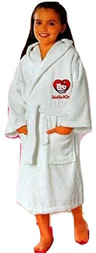 Hello Kitty Kinder Bademantel mit Kapuze Weiss (9-10 Jahre)