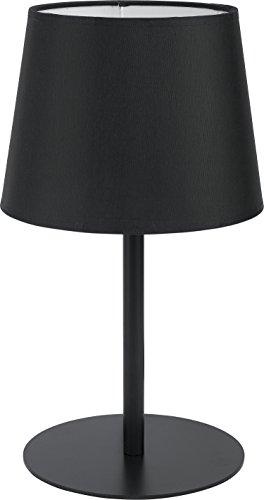 Tischleuchte Stoff Schirm Schwarz Metall Gestell Bauhaus Design Schlicht Einfarbig H 36cm E27 Nachttischlampe Tischlampe