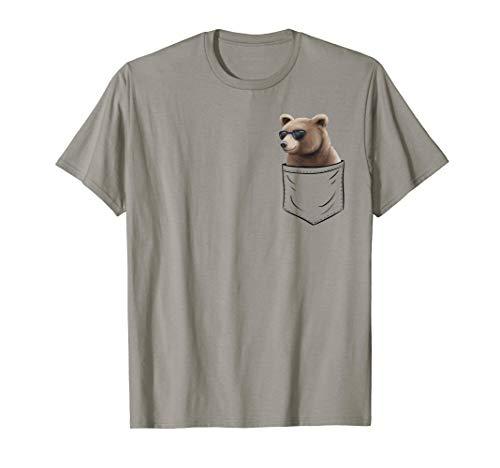 Grizzly mit Sonnenbrille | Bär In Brusttasche | Taschen-Bär T-Shirt