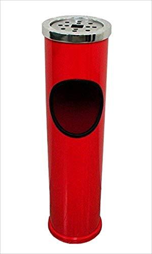 リタプロショップR ごみ箱付き インテリア灰皿 Lサイズ 丸型 室内 スタンド灰皿 (レッド)