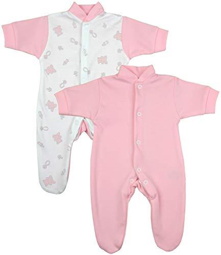 Niccolas B Babyprem Frühchen Baby 2 Schlafanzüge Strampler Frühgeborene Kleidung Mädchen Rosa Teddy 44-50cm