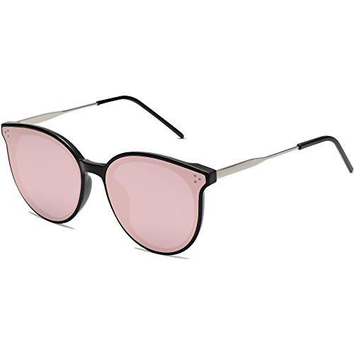 SOJOS Retro Round Sunglasses for Women Oversized Mirrored Glasses DOLPHIN SJ2068, Black/Pink Mirrored