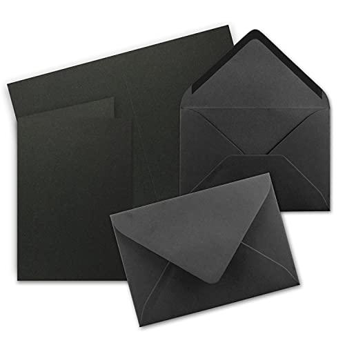 25x DIN B6 Faltkarten Set mit Umschlägen - Schwarz - 115 x 170 mm - ideal für Einladungskarten, Hochzeit, Taufe, Kommunion, Konfirmation - Marke: FarbenFroh