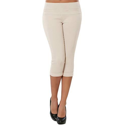 Lässige schlanke Stretch-Yogahose für Damen,Damenhosen einfarbig Enge Hosen Eng anliegende Hosen modische Hosen Stretch Leggings Hosen Bleistift Capri Hose S-3XL