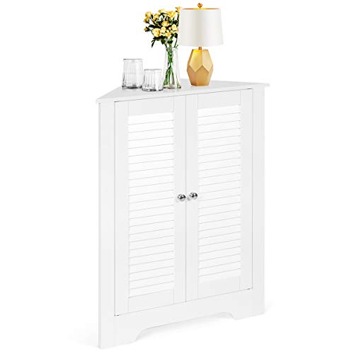 COSTWAY Corner Storage Cabinet with Double Shutter Doors and Adjustable Shelf, Floor Standing Organiser Cupboard Sideboard Unit for Kitchen Living Room Bathroom