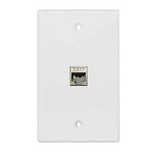 BUPLDET 1 Port Cat7 Ethernet Cable Wall Plate - Single Gang 8P8C Shielded Cat 7 RJ45 Keystone Jack Cover Plate
