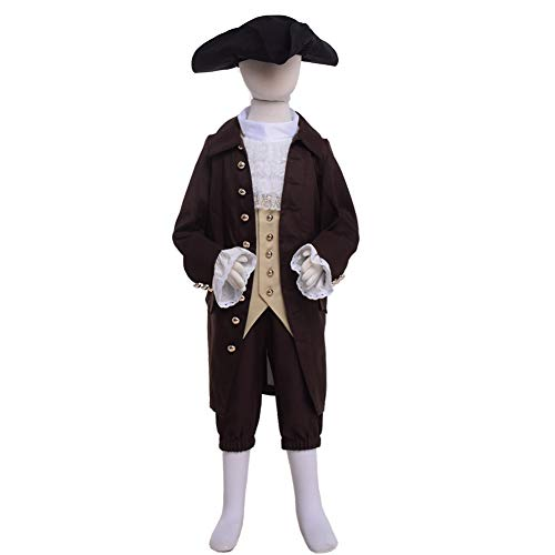Colonial Costume Boys 18th Century Colonial America Costume Boys Colonial Costumes Size 7 8 10 12 14 16 (14, Brown Set)