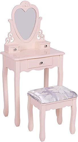 Kinderkleideretisch, Mädchenkleidungstisch, Schublade und Hocker Kindermöbel,Pink