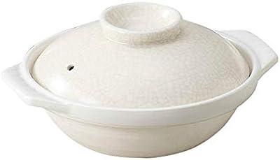 銀峯陶器 土鍋 白 7号 萬古焼 貫入 直火