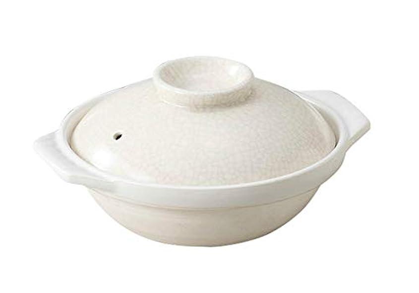 王女麦芽不良銀峯陶器 土鍋 白 8号 萬古焼 貫入 直火