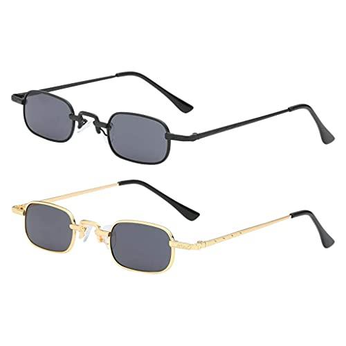 Gafas de sol cuadradas de 2 piezas, montura pequeña, protección UV, lentes grises, gafas de los años 90