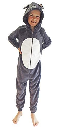 Kinder Karnevalskostüm Unisex Jumpsuit Overall Onesie Schlafanzug in tollen Tier Motiven, Größe:140, Farbe:Maus