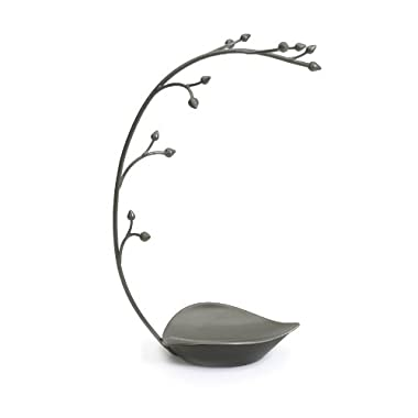 Umbra Orchid Jewelry Hanging Tree Stand - Multi-Functional Necklace Metal Holder Display Organizer Rack With a Ring Dish Tray - Great For Organization - Can Be Used As Decor, Dining Room Centerpiece
