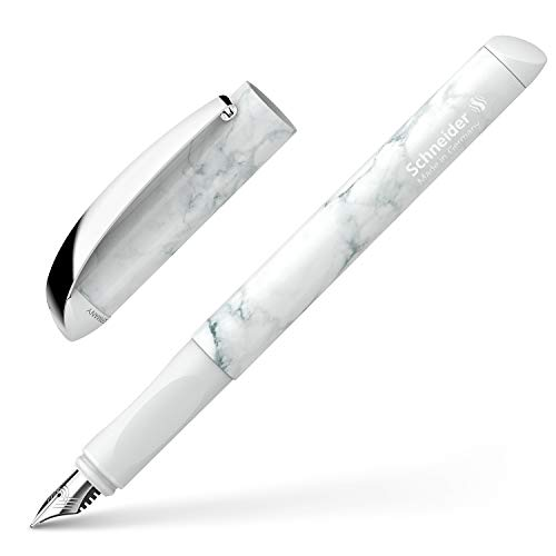 Schneider Glam VIP Fountain Pen for Right and Left-Handed Users with Ink Cartridge Royal Blue Mineral White