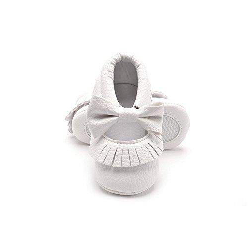 Morbuy Baby Schuhe, Niedlich Baby Säugling Kind Junge Mädchen weiche Sohle Kleinkind Schuhe Quaste Gummiband (6-12 Monate/12CM/4.72 inches, Weiß)
