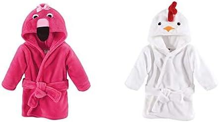Hudson Baby Girl Plush Animal Face Bathrobe 2-Pack, Flamingo Chicken