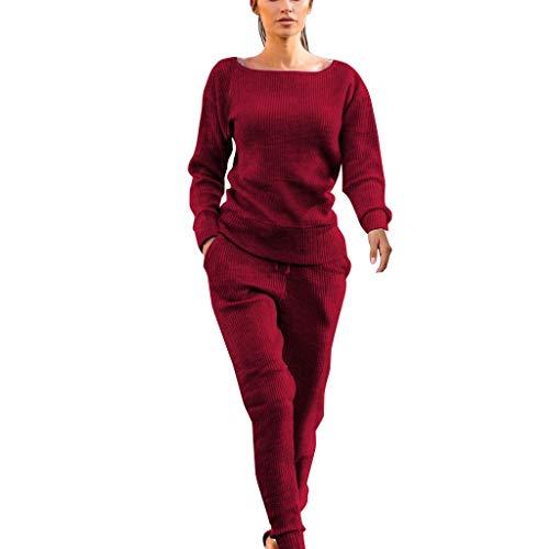 Jiumoji - Conjunto de 2 piezas para mujer casual de otoño e invierno de oficina de manga larga suave y cómoda con pantalones de pijama con bolsillo, ✨✨--Vino, L2
