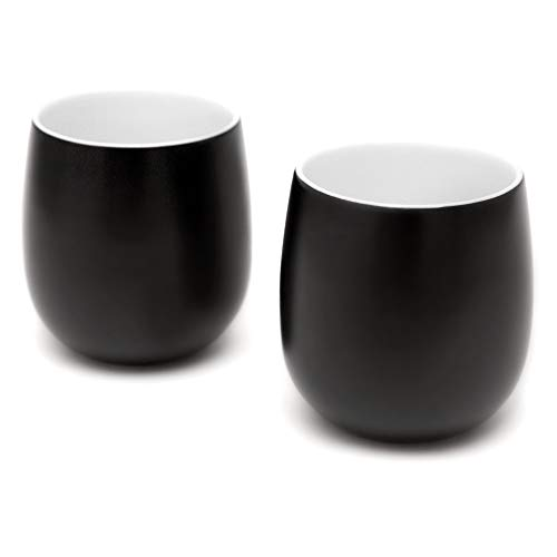 Double Walled Coffee Cups, Dobbelt Set of 2, 6 Ounce Black - Insulated Ceramic Mugs for Latte, Cappuccino, Tea - Modern, Contemporary, Art Deco Design - Box Set, by Kop & Hagen
