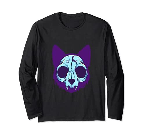 Gato cráneo pastel gato gótico esqueleto amante del animal doméstico dueño de Halloween Manga Larga