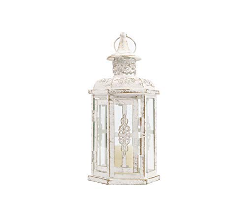 JHY DESIGN 25cm High Outdoor Candle Lanterns Vintage Style Hanging Lantern Metal Candle holder for Garden Living Room Indoor Outdoor Bedroom Parties and Weddings (White with gold brush)