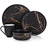 Stone Lain Modern Gold Splash Exquisite Fine China Dinnerware Set, 16 Piece - Service for 4, Black & Gold
