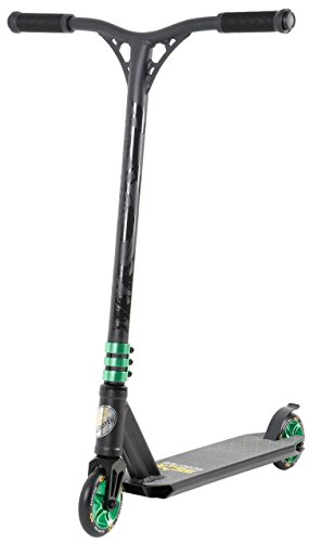 STAR SCOOTER Complete Lightweight Stunt Scooter for Adults, Teenager, Kids 8 Years | for Beginners up to Advanced Skill Riders, Alloy Wheels 110mm |Black & Green