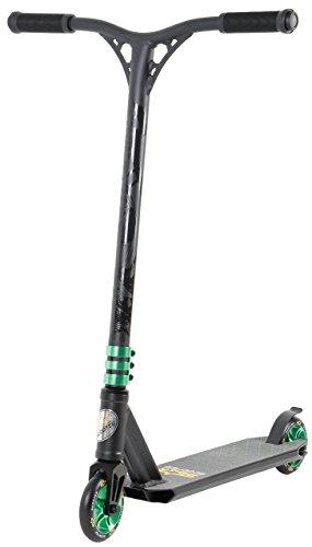 STAR-SCOOTER® Original Performance Freestyle Jump Pro Sport Alu Kickscooter Stuntscooter mit HIC Kompression in sehr stabiler Leichtbauweise für Kinder ab ca. 7 - 8 Jahre | 110mm Semi Professional Edition | Schwarz (matt) & Grün