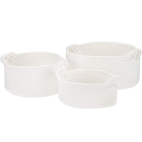Sea Team 3-Pack Cotton Rope Baskets, Small Woven Storage Basket, Fabric Tray, Bowl, Round Open Dish for Fruits, Jewelry, Keys, Sewing Kits (White)