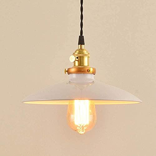 CAIMEI Lámpara colgante moderna de una sola cabeza de color metal lámpara colgante E27 fuente de luz lámpara de suspensión, rojo, blanco