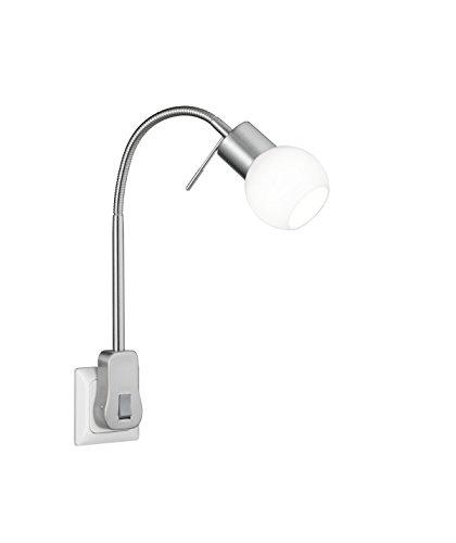 TRIO, Spot, Fred incl. 1 x LED,G9,3,5 Watt,3000K,320 Lm. Verre, Blanc, Corps: metal, Nickel mat L:4,7cm, H:40,0cm, P:20,0cm IP20,Interrupteur,Flexible,Réglable avec interrupteur