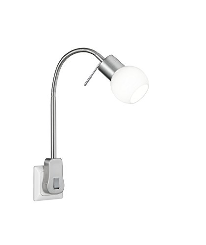 Trio Leuchten LED Steckerspot 891770107 Fred, Metall Nickel matt, Glas weiß, inkl. 1 x G9 3.5 Watt, Switch Dimmer
