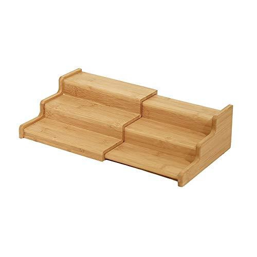PPuujia Caja de almacenamiento expandible de 3 capas para cocina, para sazonar el hogar, para especias de bambú, universal