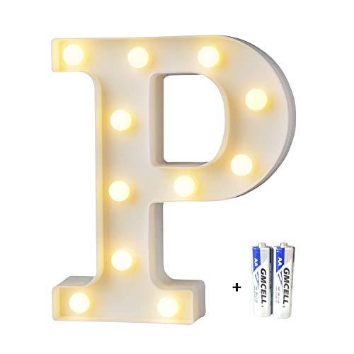 LED Buchstabe Lichter Alphabet, LED Brief Licht, Led dekoration für Geburtstag Party Hochzeit & Urlaub Haus Bar - Buchstabe P