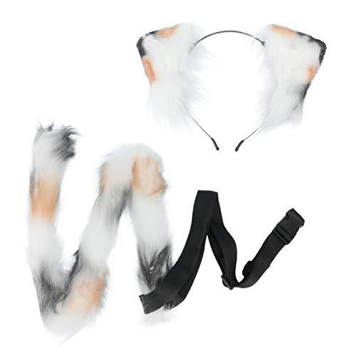 PIXNOR Conjunto de Disfraz de Zorro Diadema Oreja Peluda Cola de Animal de Piel Sinttica para Nios Adultos Cosplay Disfraces de Fiesta Juguetes Regalo Accesorios Unisex