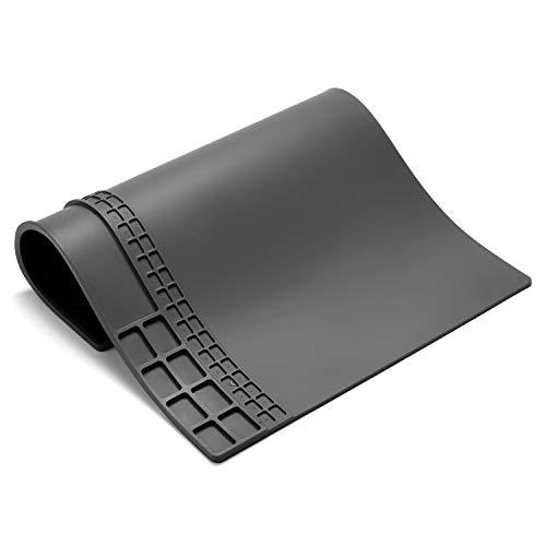 Repair Heat Mat Resistant 932°Soldering Mat Silicone Work Mat For Repairing Electronics Mat Workbench Pad Board for Soldering for Repairing Work,BGA Repair Station (Grey 13.89.8 in)