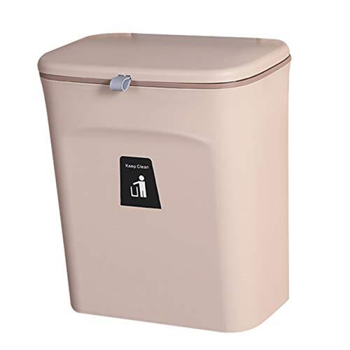 JIXUN - Pattumiera da appendere, con coperchio scorrevole, con coperchio per armadietti da cucina, porta, bagno, WC, camera da letto, soggiorno (caffè)
