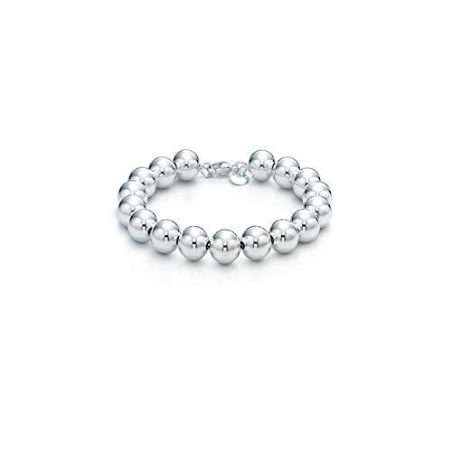 Sterling Silver 4MM-10M Italian Bead Ball Chain Bracelet- Handmade Bead Italian Bracelet, Silver Bead Bracelet For Women (7.5, 6MM)