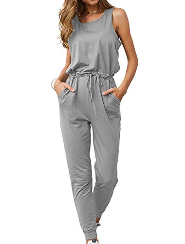 Grace's Secret Womens Sleeveless Rompers and Jumpsuits Elegant Casual Summer Jumpsuit with Pocket Grey