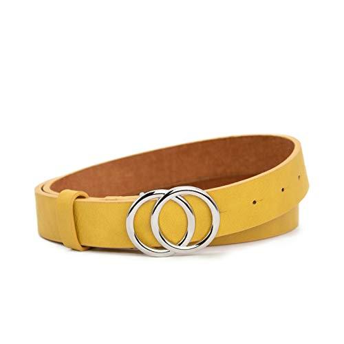 Cinturón amarillo para mujer, 85 cm