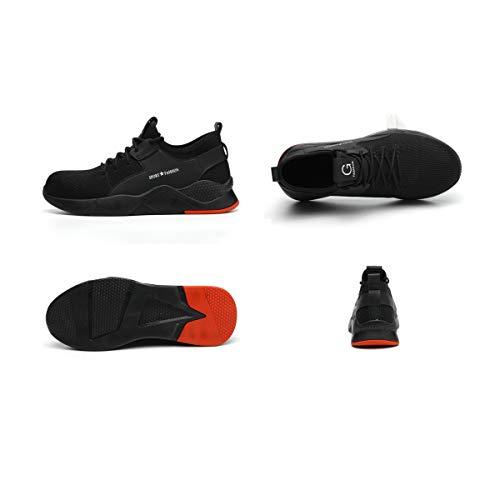 Zapatos de Seguridad Hombre Mujer Ligero Calzado Trabajo Zapatillas con Punta Acero Industriales Transpirable Seguridad Cómodas Antideslizante Anti Aplastamiento Black48