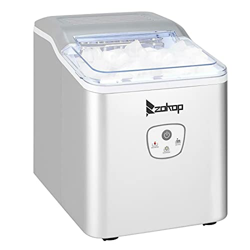 Compact & Portable Ice Cube Machine Electric Ice Maker 26lbs Perfect for Kitchen, Picnic Outdoor Party Activities, Silver