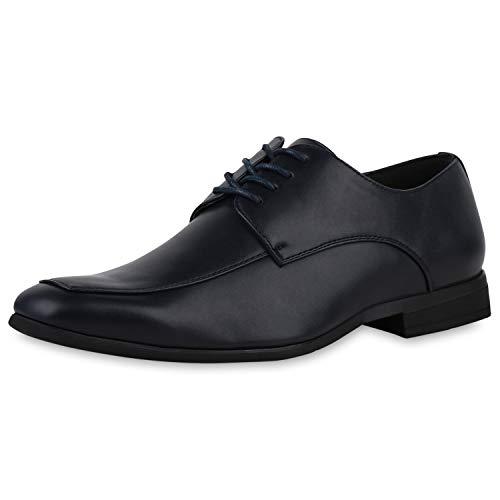 SCARPE VITA Herren Business Schuhe Klassische Schnürschuhe Blockabsatz Lederoptik Schnürer Elegante Arbeitsschuhe 196530 Dunkelblau 42