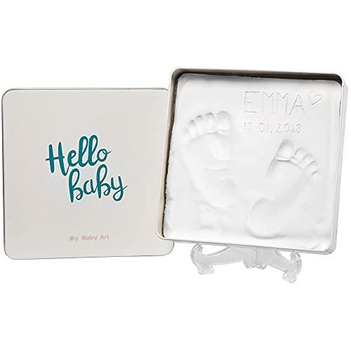Baby Art Magic Box Scatola Quadrata In Metallo Con Kit Impronta Per Calco Di Mani E Piedi Del Neonato, Regalo Nascita O Bomboniera Battesimo, Essentials