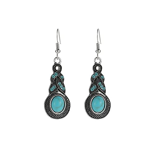 ACEACE Pendiente de Gota de Cristal para Mujer Fashion Oreja Piercing Piercing Pendiente Regalo de Regalo de la Moda Regalo (Metal Color : Blue)