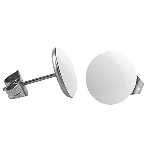Mein-Ohrstecker Chirurgenstahl Emaille Ohrringe Edelstahl Größe 4 mm, Farbe Weiß