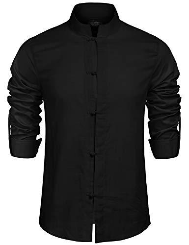 COOFANDY Herren Hemd Leinenhemd Langarm Regular Fit Stehkragen Einfarbig Freizeithemd für Männer schwarz l
