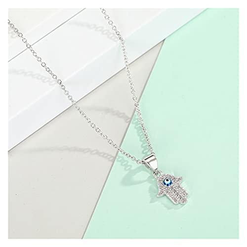 DSJTCH 1pc Moda Zircon Fatima Mano Collar Metal Cristal Equal Equal Collares Cadena de clavícula para Regalo de Mujer Jewerly (Length : 55cm, Metal Color : Silver)