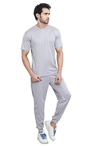 CLOTHINKHUB Solid Lycra Blend Slim Fit Tracksuit for Men